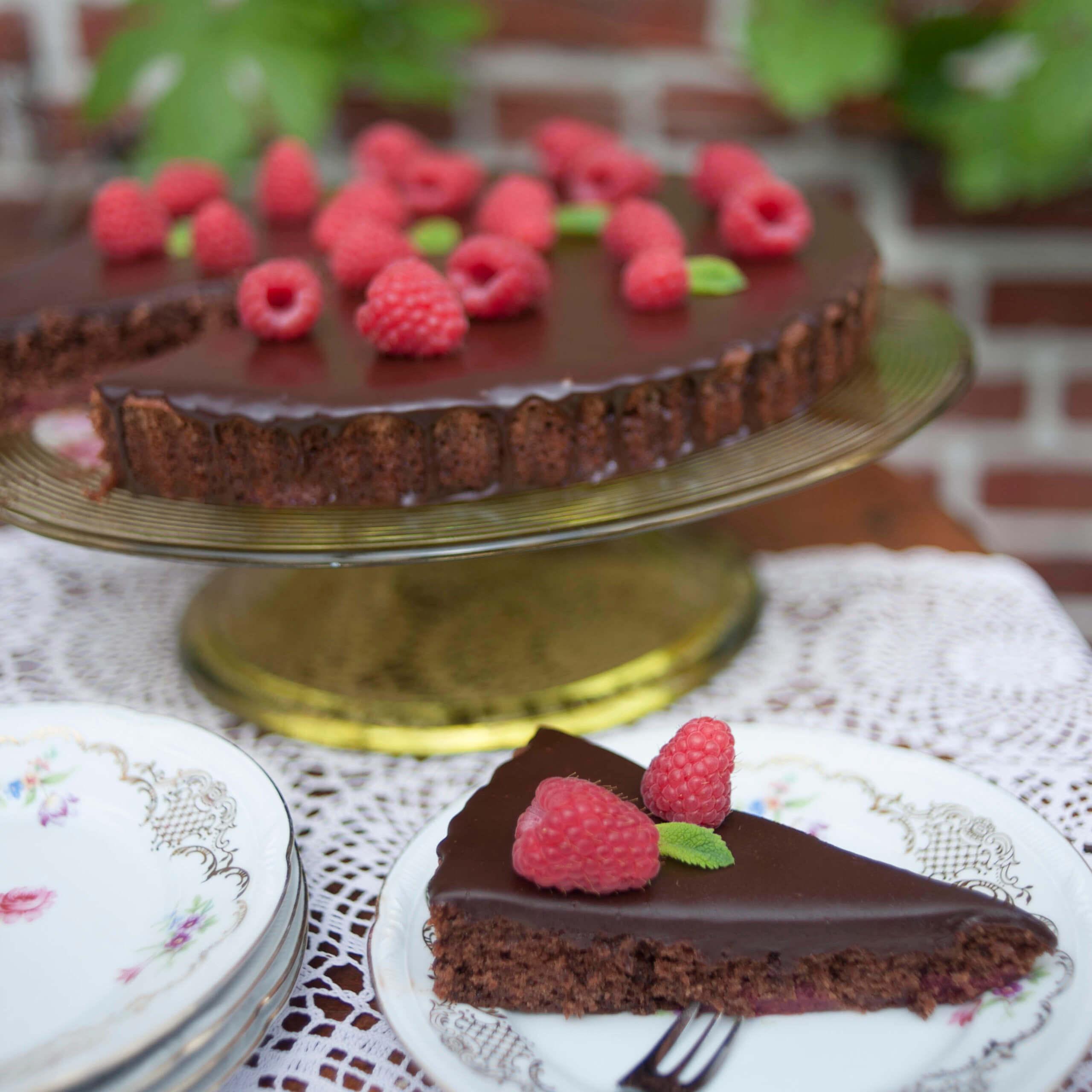 frambozen chocoladetaart